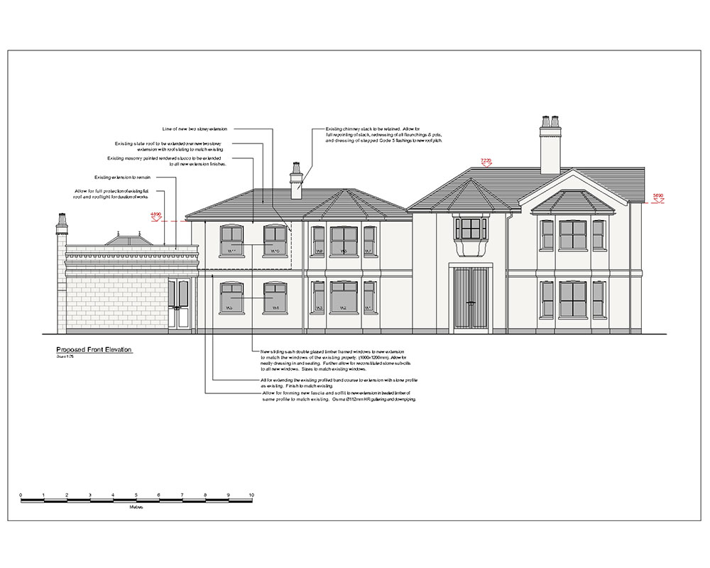 Architectural 2D CAD drawing Forest Lodge elevation