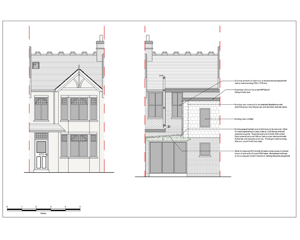 Architectural 2D CAD drawing front and rear elevation